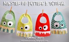 http://www.stubbornlycrafty.com/2012/08/monster-bib-pattern-tutorial/ Monster Bib {Pattern & Tutorial} - Stubbornly Crafty