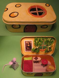 Mouse house in an altoid box, Yellow Fish - Kinderspiele Mouse Crafts, Felt Crafts, Diy And Crafts, Paper Crafts, Diy For Kids, Crafts For Kids, Craft Projects, Sewing Projects, Sewing Kits