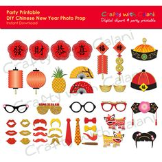 Chinese New Year Photo Booth Prop, Chinese New Year Party Printable, Lunar New Year Photo Props Printable Diy Photo Booth Props, Photo Booths, Diy Photo Ornaments, Photo Transfer To Wood, Chinese New Year Party, Asian Party, New Year Art, Chinese Crafts, New Year Photos