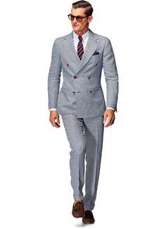 Mini Navy Blue Houndstooth Linen Suit