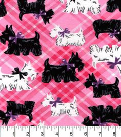 Snuggle Flannel Fabric-Scotties On Pink Plaid