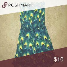 Peacock Sundress! Stapless Peacock sundress with thin elastic wideband, ruffled bottom. Dresses Strapless