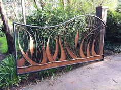 3.6 mt driveway gate forged steel grasses, plasma cut sections. Eltham www.decorativemetal.com.au