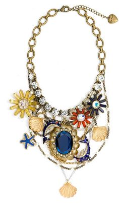 Betsey Johnson  Mermaids Tale Charm Bib Necklace @Devon Phelps...we must find this necklace ASAP!