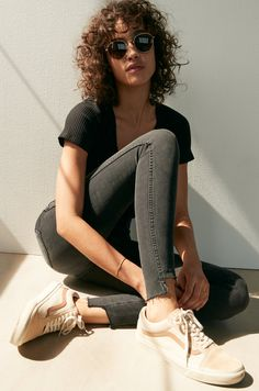 "madewell 10"" high-rise skinny jeans: step-hem edition worn with the cameo scoop rib bodysuit, fest aviator sunglasses + madewell x vans® lace-up sneakers."