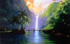 Waterfall Painting Picture