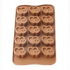 Forma de Silicone para Chocolate Gelo e Gelatina Coração Duplo