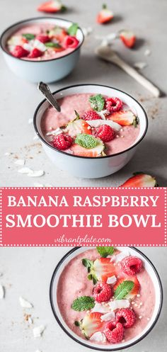This colorful Banana Raspberry Smoothie Bowl is a vibrant vegan & gluten-free shot of vitamins! It can be prepared in a matter of minutes, but is really delicious! #smoothie #bowl #smoothiebowl #raspberries #vegan