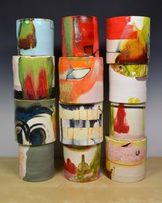 "Lauren Mabry, ""Composition of Enclosed Cylinders"" red earthenware, slips, glaze, 20 x x Pottery Mugs, Ceramic Pottery, Pottery Art, Ceramic Painting, Ceramic Artists, Fungi, Ceramic Glaze Recipes, Plastic Art, Pottery Designs"