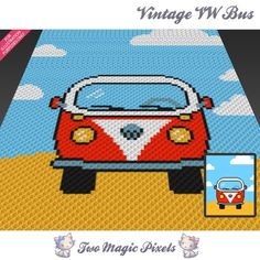 Vintage VW Bus crochet blanket pattern; c2c, knitting, cross stitch graph; pdf download; no written counts or row-by-row instructions by TwoMagicPixels, $3.79 USD