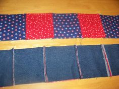 sewed rows with red and blue backing and denim showing seams. Denim Quilt Patterns, Beginner Quilt Patterns, Quilt Patterns Free, Rag Quilt Instructions, Blue Jean Quilts, Denim Crafts, Boy Quilts, Denim Quilts, Quilting Designs