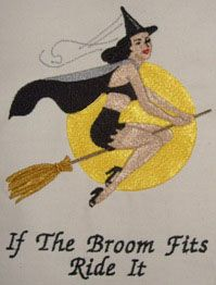 Halloween Embroidery Design  This great classic Pinup style Witch is flying it high - perfect for any clothing item - after all if the broom fits ride it  Available from www.sewdragondesigns.com in 8 different machine embroidery formats, various sizes, and instant download.
