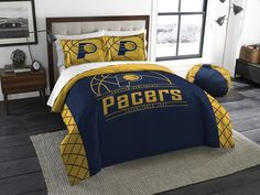 Indiana Pacers NBA Reverse Slam Full-Queen Comforter Set. Includes 2 Shams and Comforter.  Visit SportsFansPlus.com for Details.