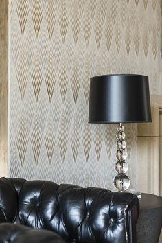 Get swept away by our African Plumes Wall Stencil every time from Royal Design Studio! Love how it can create a retro feel with the decor or create a modern global chic design. - painted by Caroline Lizarraga and photography by