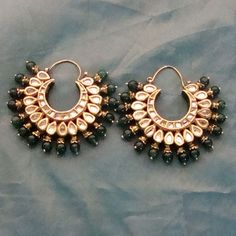 Kundan hoop earrings. #IndianFashion