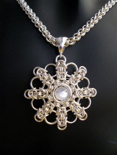 Sterling Silver Medallion Pendant Moonstone Round di ritamoehler Stunning!