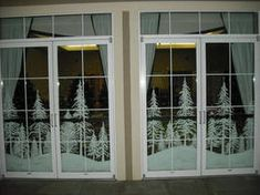 Snowy forest double doors by Window-Painting