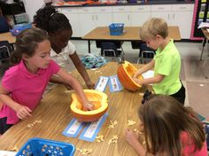 Counting Pumpkin seeds in Mrs. Golson's class