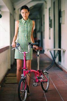 Hot Pink Brompton - Green patterned shift dress