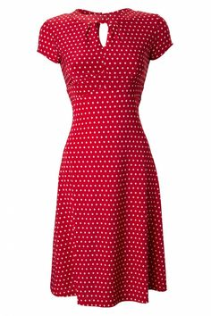 The 40s Juliet Classy Red Polka Dot Vintage Flared Tea dressfrom Lindy Bopis a classy polka dot A-line dress with playful accents!This cute retro styled dress is everybody\'s friend: the flared A-line makes it the perfect dress for every bodytype! The lined top is fitted and sits beautifully around the bust, which has a very subtle keyhole detail, so nothing is revealed too much. From the bust down ending in a flattering a-line and made from a comfy, soft stretch fabri...