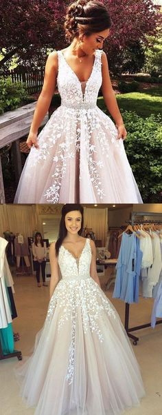 high quality plunging prom dresses, unique long prom dresses, modest lace evening gowns #dressesprom