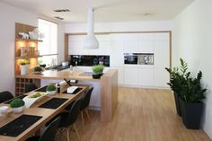 Clean, white and blonde wood Beautiful Kitchen Designs, Best Kitchen Designs, Beautiful Kitchens, Cool Kitchens, Open Plan Kitchen Living Room, Kitchen Design Open, Open Kitchen, Decoration, Living Spaces