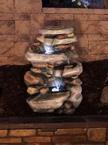 Stone Waterfall #Fountain with LED Lights