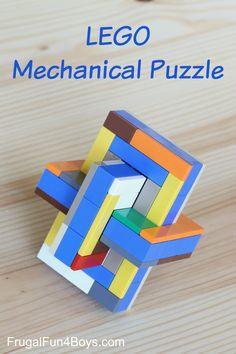 LEGO Mechanical Puzzle - Build this three piece puzzle and then figure out how to slide the pieces together to make this shape.  Fun challenge for a LEGO club!