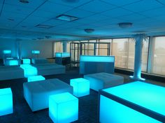 Glow-Cubes, LED colorful light-up glowing cubes and Glo-Bar with bench and square white leather ottomans for corporate party in Boston, MA - New Deko Sites White Leather Ottoman, Bat Mitzvah Party, Bar Mitzvah, Lounge Lighting, Event Lighting, New York Bar, Bar Lounge, White Lounge, Lounge Decor