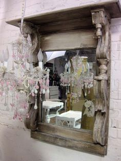 Handmade One Of A Kind Shabby Farmhouse Architectural Find Mirror.This would look nice outside, too. Farmhouse Mirrors, Farmhouse Chic, Fancy Mirrors, Painted Cottage, Through The Looking Glass, Architectural Salvage, Shabby Chic Style, Hanging Lights, Decoration