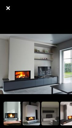 Fireplace Tv Wall, Modern Fireplace, Living Room With Fireplace, Home Living Room, White Family Rooms, Open Plan Kitchen Dining Living, Living Room Cabinets, House Inside, Foyers