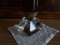 Gorgeous French antique ink well with crystal base and