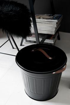 IKEA HACK :: DIY Leather Handle Trashcan