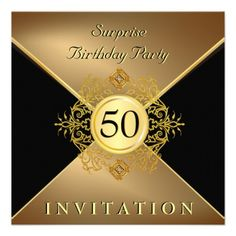 Custom Elegant Gold Black Birthday Surprise Party In Personalized Invite created by th_party_invitations. This invitation design is available on many paper types and is completely custom printed. Surprise Party Invitations, 50th Birthday Party Invitations, Gold Birthday Party, Invites, 50th Party, Birthday Ideas, 70th Birthday, Gala Invitation, Surprise Birthday