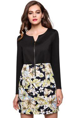 Black Stylish Women Fashion Floral Fabric Spring Autumn Winter Work Dresses