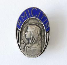 Vintage LOURDES Catholic Pelgrimage France brooch pin badge
