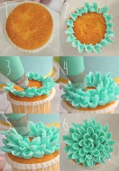 Cupcakes flowers - mmmmm! Would love to do this one one of my baking days. :)