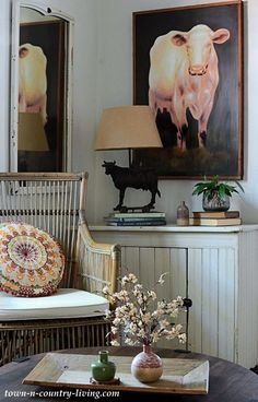 Cow Painting in Country Living Sitting Room