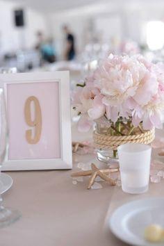 Blush pink gold nautical wedding decor