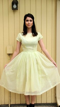Vintage 50s yellow party dress/ Mad Men style