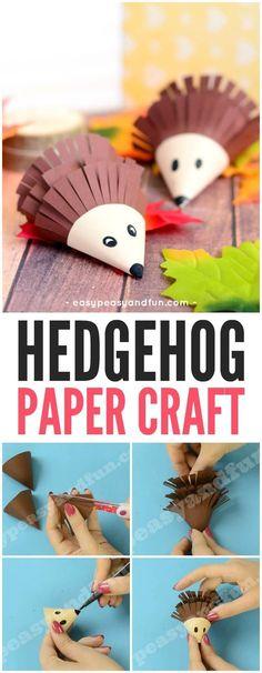 Cute Hedgehog Paper Craft Idea for Kids! A cute way to work on scissor skills this fall with preschool and kindergarten kids! #hedgehogcraft #animalcrafts