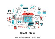 Modern flat line design vector illustration, concept of technology smart house with control of any house systems: lighting, security, video surveillance and others