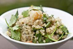 Clean Eating Quinoa Garlic Shrimp & Cilantro Salad [Healthy, Seafood, High-protein, Whole grain, Gluten-free, Wheat-free, Simple]