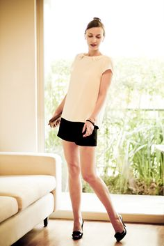 Ladylike #outfit - Zara blouse with studs and shorts