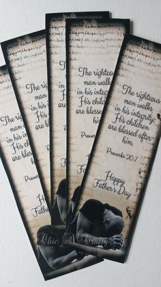 DIY Printable Bookmark, FATHERS DAY, Proverbs 20:7,Religious Bible Bookmark, Instant Download by 1ChicNCraftyMama on Etsy