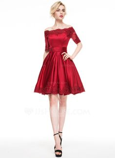 A-Line/Princess Off-the-Shoulder Knee-Length Appliques Lace Zipper Up Sleeves 1/2 Sleeves No 2016 Burgundy Spring Summer Fall General Plus Satin Cocktail Dress