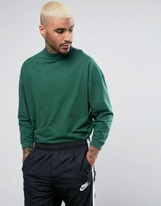 Get this Asos's turtleneck t-shirt now! Click for more details. Worldwide shipping. ASOS Oversized T-Shirt With High Neck And Cropped Arm In Green - Green: T-shirt by ASOS, Soft-touch jersey, High neck, Dropped shoulders, Cropped sleeves, Looser in the chest and hem, Oversized fit � falls generously over the body, Machine wash, 100% Cotton, Our model wears a size Medium and is 193cm/6'4 tall. ASOS menswear shuts down the new season with the latest trends and the coolest products, designed…