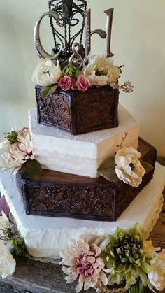 Awesome  tooled leather  buttercream wedding cake    WEDDING     Tooled Leather wedding cake by 2 Sisters Bakery in Rapid City  SD