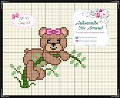 Cross Stitching, Cross Stitch Embroidery, Hand Embroidery, Cross Stitch Patterns, Pixel Crochet Blanket, Crochet Crafts, Beading Patterns, Diy And Crafts, Teddy Bear