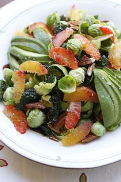 Raw Brussels Sprouts Salad with Blood Orange Dressing - Vegan